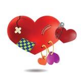 Le concept d'un coeur blessé cassé après beaucoup de relations, Image libre de droits