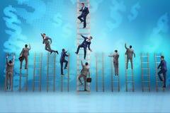 Le concept de concurrence avec les concurrents battants d'homme d'affaires Image stock