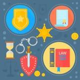 Le concept de construction de loi et de justice avec des icônes de calibre d'infographics d'icônes de justice en cercles conçoive illustration libre de droits