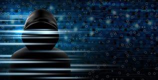Le concept de Cybersecurity du pirate informatique et le fond de technologie conçoivent Image stock