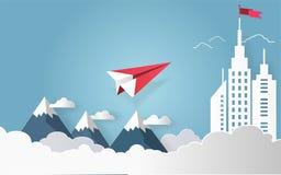 Le concept de direction, l'avion rouge et le bâtiment architectural blanc aménagent en parc Photographie stock