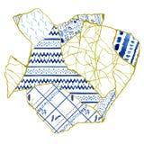 Le concept de Kintsugi - art japonais de r?parer la poterie cass?e, le patchwork avec des fissures d'or et l'ornement bleu photos libres de droits