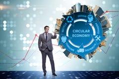 Le concept de l'économie circulaire avec l'homme d'affaires photo stock