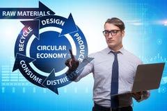 Le concept de l'économie circulaire avec l'homme d'affaires images stock