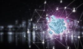 Le concept de l'Internet et la mise en réseau avec le cube numérique figurent sur d Image libre de droits