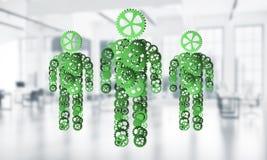Le concept de la coopération ou l'association avec trois figures présentent Images stock