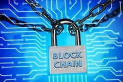 Le concept de la fermeture, protection Blockchain de technologie, chiffrage du trafic Internet photos libres de droits