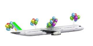 Le concept de la lumière saute à cloche-pied un avion vole sur des ballons Photographie stock