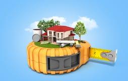 Le concept de la maison de conception de bâtiment avec des dessins et des outils est sur t Photographie stock libre de droits