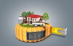 Le concept de la maison de conception de bâtiment avec des dessins et des outils est sur t Photos libres de droits