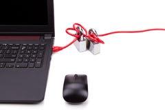 Le concept de la sécurité de réseau informatique avec le double padlocks au-dessus de c Photo stock