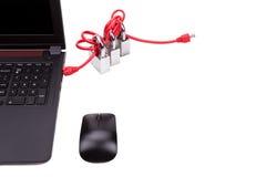 Le concept de la sécurité de réseau informatique avec le triple padlocks au-dessus de c Photos libres de droits