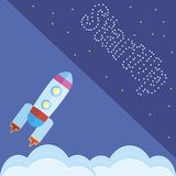 Le concept de mettent en marche la fusée sur le bleu Photographie stock libre de droits