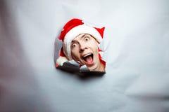 Le concept de nouvelle année de Noël, chapeau élégant de Santa de type traverse images libres de droits