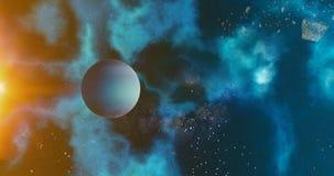 Le concept de planète de système solaire Neptune au-dessus de l'astronomie de planètes de fond galactique Neptune et de système s illustration libre de droits