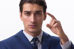 Le concept de reconnaissance des visages avec le portrait d'homme d'affaires image libre de droits