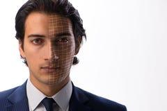 Le concept de reconnaissance des visages avec le portrait d'homme d'affaires images libres de droits