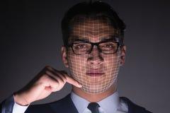 Le concept de reconnaissance des visages avec le portrait d'homme d'affaires photos libres de droits