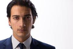 Le concept de reconnaissance des visages avec le portrait d'homme d'affaires photo libre de droits