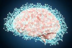 Le concept de technologie d'intelligence artificielle avec le cerveau, 3D rendent Images stock