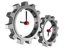 Le concept de temps synchronise des roues de trains au-dessus de blanc Image libre de droits