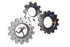 Le concept de travail d'équipe avec des roues dentées et des gens d'affaires Image libre de droits