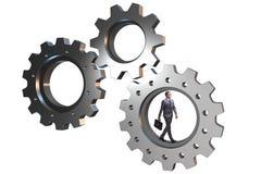 Le concept de travail d'équipe avec des roues dentées et des gens d'affaires Image stock