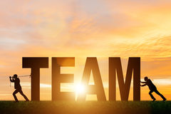 Le concept de travail d'équipe avec l'équipe de mot Image libre de droits