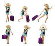 Le concept de vacances de voyage avec le bagage sur le blanc Photo stock