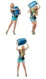 Le concept de vacances de voyage avec le bagage sur le blanc Photo libre de droits