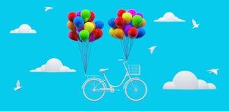 Le concept de voyage, bicyclette avec des ballons vole dans le ciel bleu 3D rendent l'illustration 3d illustration libre de droits