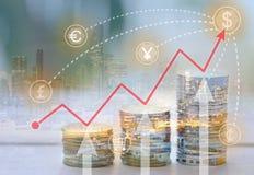 Le concept des affaires au sujet de l'argent et les bénéfices dans l'investissement commercent image libre de droits