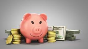 le concept des billets d'un dollar de porc d'argent de l'épargne dans les piles 3d rendent o illustration de vecteur