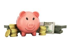 le concept des billets d'un dollar de porc d'argent de l'épargne dans les piles 3d rendent o illustration libre de droits
