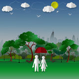 Le concept des couples dans la ville se garent avec le fond de bâtiment de ville illustration libre de droits