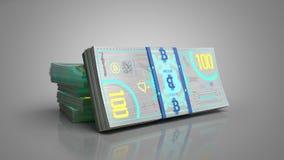 Le concept des factures d'argent de billet de banque de bitcoin 3d rendent sur le gris illustration stock
