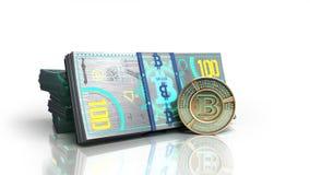 le concept des factures virtuelles 3d de billet de banque de bitcoin et d'argent de monet ren Photo stock