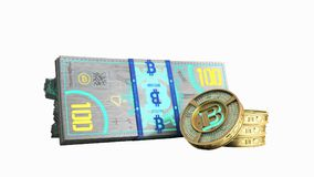 le concept des factures virtuelles 3d de billet de banque de bitcoin et d'argent de monet ren Images stock
