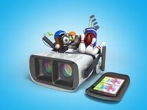 Le concept des jeux de sports dans la réalité virtuelle 3d rendent sur le bleu Image libre de droits