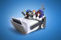 Le concept des jeux de sports dans la réalité virtuelle 3d rendent sur le bleu Photographie stock