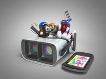 Le concept des jeux de sports dans la réalité virtuelle 3d rendent sur le gris Photographie stock libre de droits
