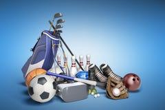 Le concept des jeux de sports dans la réalité virtuelle 3d rendent sur le bleu Photos stock