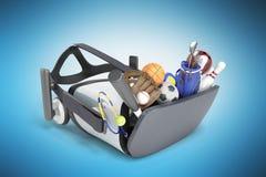 Le concept des jeux de sports dans la réalité virtuelle 3d rendent sur le bleu Photographie stock libre de droits