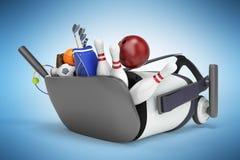 Le concept des jeux de sports dans la réalité virtuelle 3d rendent sur le bleu Images libres de droits