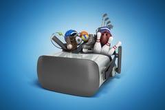 Le concept des jeux de sports dans la réalité virtuelle 3d rendent sur le bleu Photo libre de droits