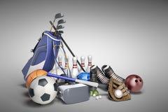Le concept des jeux de sports dans la réalité virtuelle 3d rendent sur le gris Photos libres de droits
