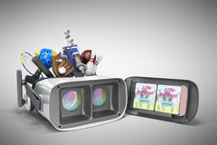 Le concept des jeux de sports dans la réalité virtuelle 3d rendent sur le gris Image stock