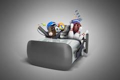 Le concept des jeux de sports dans la réalité virtuelle 3d rendent sur le gris Photographie stock