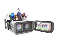 Le concept des jeux de sports dans la réalité virtuelle 3d rendent sur le petit morceau Photos stock