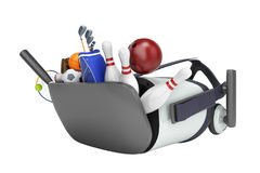 Le concept des jeux de sports dans la réalité virtuelle 3d rendent sur le petit morceau Images libres de droits